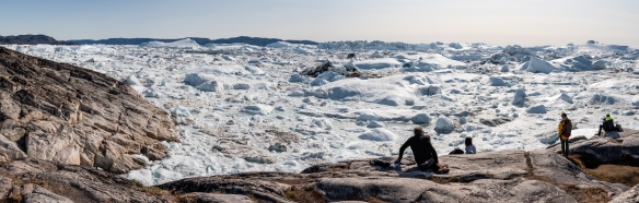 A panorama of the Ilulissat Icefjord, Ilulissat, Greenland, viewed form Sermermiut valley
