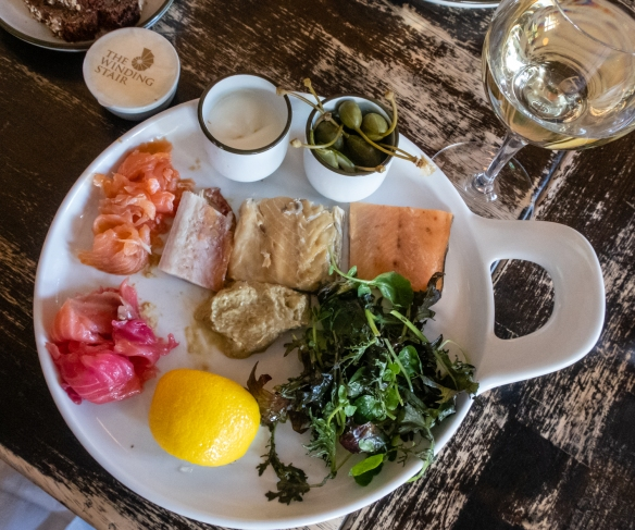 A shared first course was a huge platter of many local smoked fish with Irish bread and butter – delicious!, The Winding Stair, Dublin, Republic of Ireland