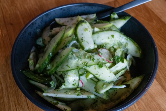 A side dish of sliced cucumber and green apple salad with fresh herbs, Frumbiti Restaurant, Tórshavn, Faroe Islands