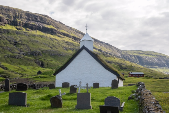 A small cemetery is at the rear of the church in Saksun, Streymoy, Faroe Islands