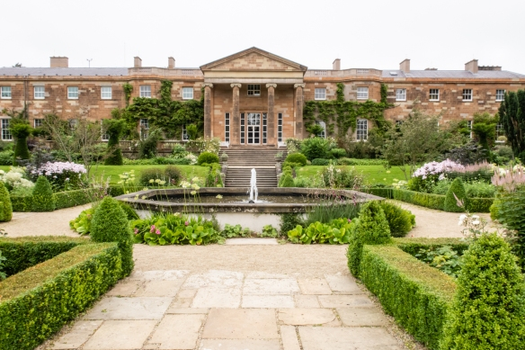 A view of the Castle from the gardens, including a beautiful fountain in the formal garden; Hillsborough Castle, Hillsborough, County Down, Northern Ireland, United Kingdom