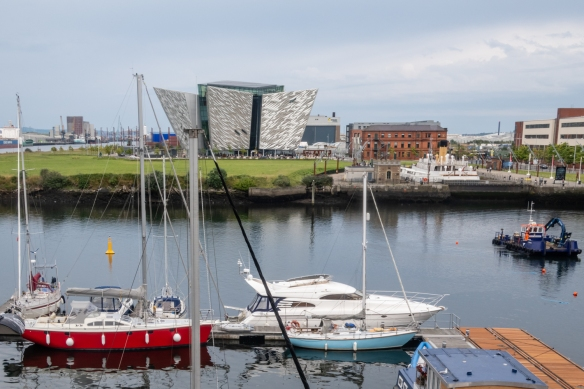 "A view of Titanic City, home of the Titanic Belfast (the silver modern building) that offers ""The Titanic Experience"" to visitors, Belfast, Northern Ireland, United Kingdom"