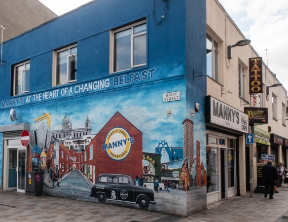 A wall painting advertising the fish and chips at Manny's in downtown Belfast, Northern Ireland, United Kingdom