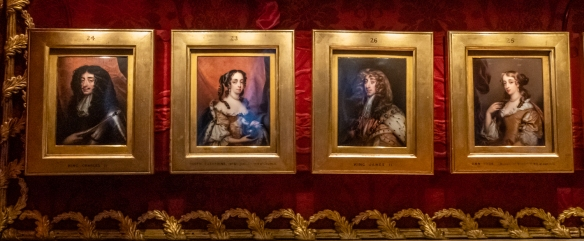 Around the chair rail in the Red Room are a series of numbered miniature painted portraits of English Royalty