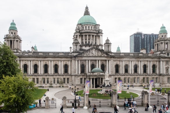 Belfast City Hall is the civic building of Belfast City Council located in Donegall Square, Belfast, Northern Ireland United Kingdom -- facing North and effectively dividing the commercial and business areas of the city center