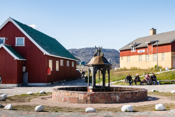 Greenland's oldest fountain, completed in 1932, is located in the tiny city center of Qaqortoq, surrounded by several historical buildings and cafés