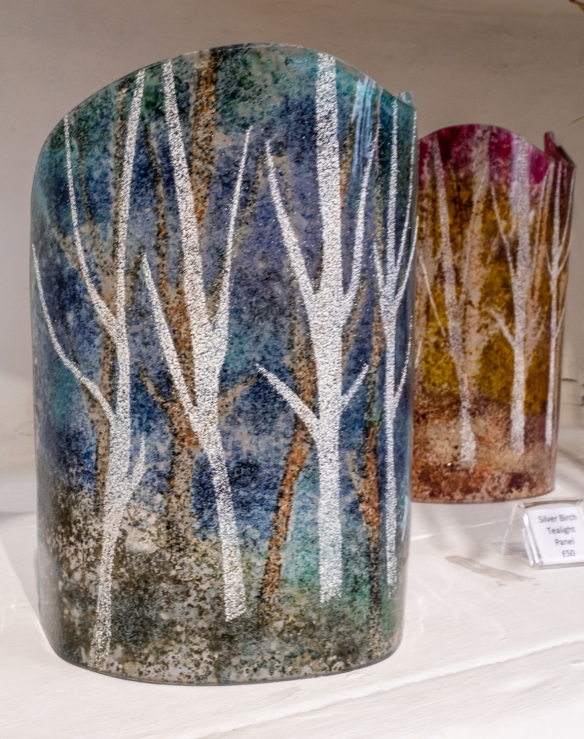 Hand-blown glass silver birch tealight panels by the glass artist Steve Robinson who specializes in kiln work using enamels and has won national recognition for his work including Gold Prizes for Glass