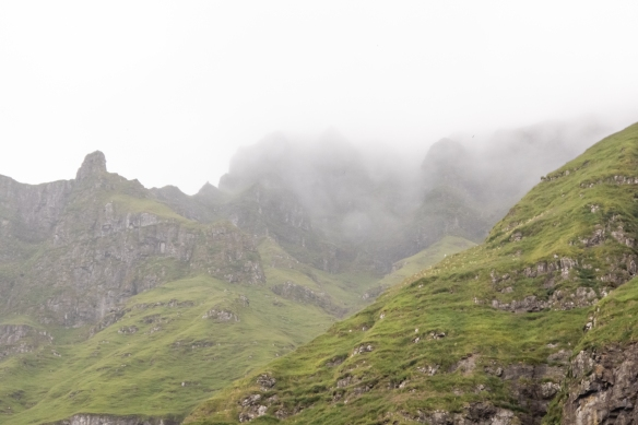 Later in the afternoon the clouds descended on the cliffs, Streymoy, Faroe Islands