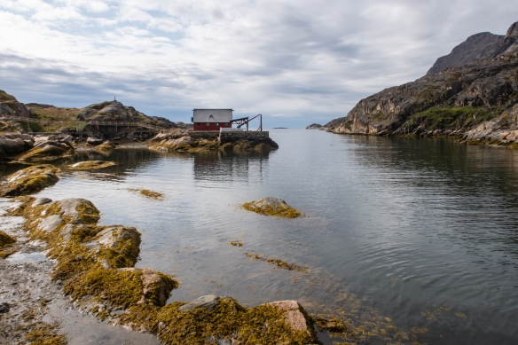 Looking back at the entrance to waterfront of the now abandoned Assaqutaq Village, about 10 kilometers - 6 miles from Sisimiut, Greenland – our first port-of-call on our Northwest Passage expedition after sailing north from Nuuk, Greenland