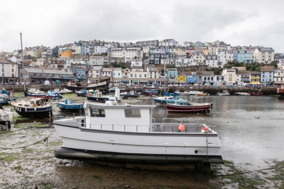 Low tide at the inner harbor of Brixham Harbor, Brixham, South Devon, England, with the eastern quay chock-a-block full of cafes, bars, restaurants and gift shops