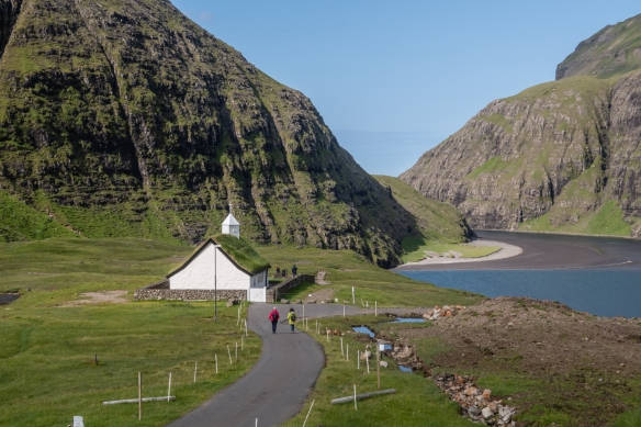 Near the lagoon at Saksun is a church from the mid-1800s that was relocated to its present position after being disassembled in a nearby town and carried over the mountain and reassembled, Streymoy, Faroe Islands