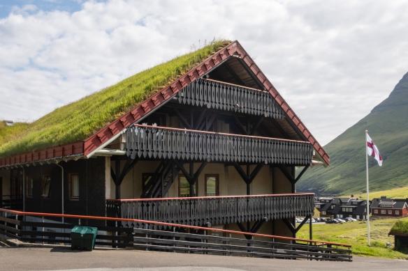 Note the traditional sod roof on the Hotel Gjáagaróur, Gjógv, Eysturoy, Faroe Islands