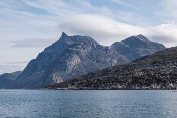 On our boat excursion in Nuuk Fjord from the capital city of Nuuk, we sailed around the island just north of Nuuk -- Sadelø (Sermitsiaq) – that is dominated by Sermitsiaq Mountain (Sadien) at 3,985 feet (1,215 meters)