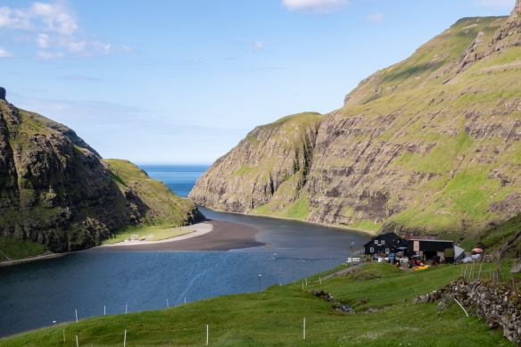One of the most scenic towns in the Faroe Islands is the small village (population 14) of Saksun in the northwest of the most populated island, Streymoy, Faroe Islands
