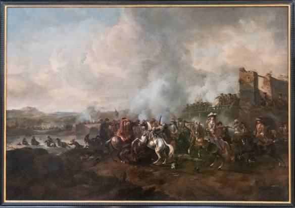 "Painting in the Merrion Hotel, ""The Battle of The Boyne 1690"" by Jan Van Huchtenbburg 1647 – 1733. King Janes II was defeated by William of Orange. After the Battle, James fled first to Dublin and then to France"