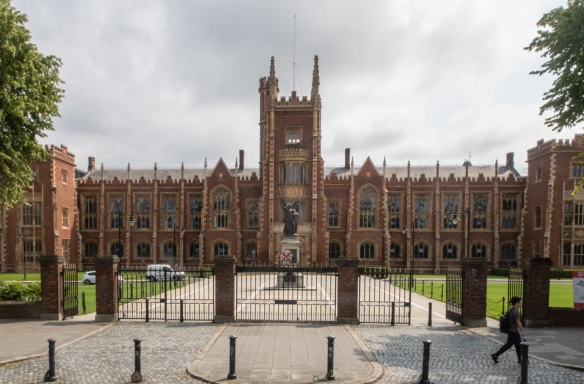 Queen's University Belfast's main building was built in the Tudor-style; the university is known for its humanities, science and medicine programs, Belfast, Northern Ireland, United Kingdom