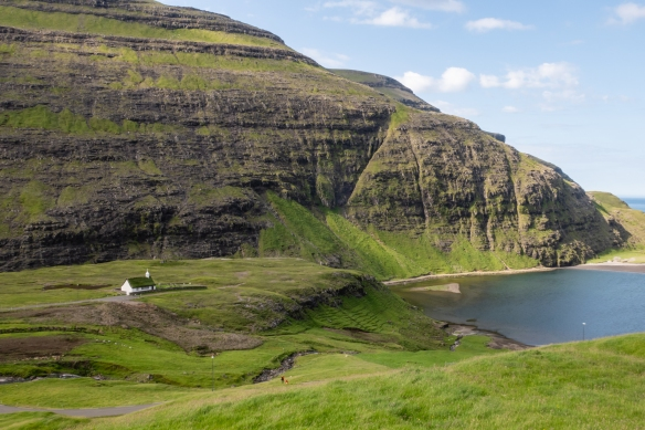 Saksun is splendidly set in a natural circular amphitheatre high above a tidal lagoon, Streymoy, Faroe Islands; we enjoyed hiking around the village and part way up the mountain side to view a waterfall