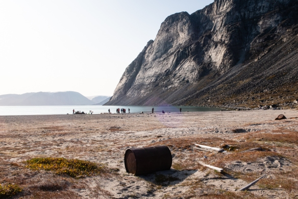 The beach where we did a Zodiac landing for a hike was strewn with debris left from settlements and short-term summer stays, Feacham Bay, Buchan Gulf, Baffin Island, Canada