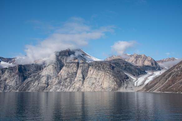 The cliffs and glaciers of Sam Ford Fjord (Kangiqtualuk Uqquqti) on the northeast side of Canada's Baffin Island in the Arctic Territory of Nunavut, as seen from an upper deck of our ship