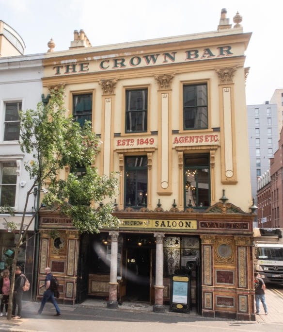 The Crown Liquor Saloon (Bar), a famous 1820's pub in Belfast, is an outstanding example of a Victorian gin palace, and one of Northern Ireland's best-known pubs
