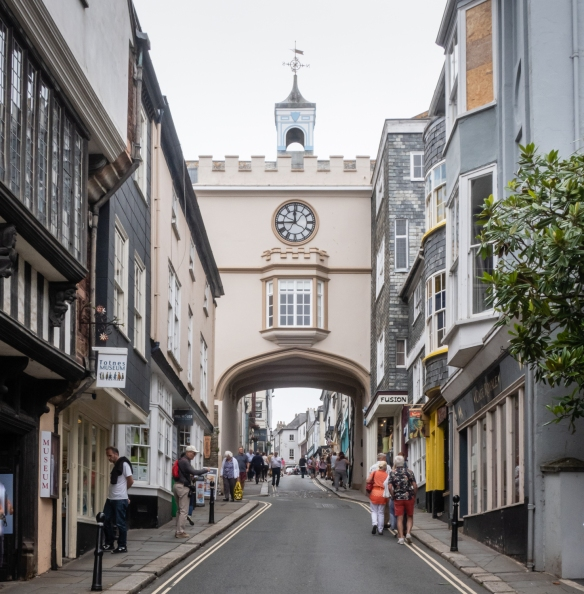 The historic clock tower burned down and was rebuilt in the 20th century, in its former location in the center of Totnes, England