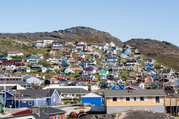The homes in Qaqortoq, Greenland, are all painted bright primary colors for a psychological boost to the community in the dark winter months of the year