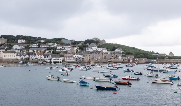 The island of St Mary's is the principal island in the group of islands off the coast of Cornwall, England, collectively known as the Isles of Scilly – these boats were moored just outside the small working harbor of Hugh Town, St. Mary's main port