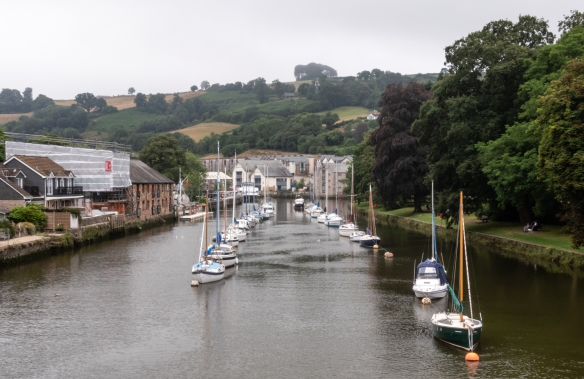 The local marina in Totnes, England, is near the mouth of the River Dart; our river boat docked there and we walked over the Dart River bridge into the heart of the town of Totnes