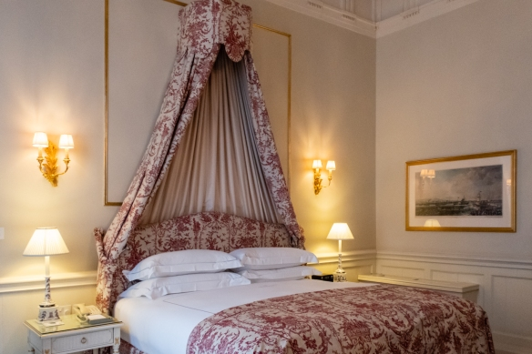 The Merrion Hotel's 123 guest rooms and 19 suites are light and airy, decorated in colors selected from a subtle palette inspired by one of Paul Henry's Irish landscape paintings which hangs in the Front Hall of the Hotel, Dublin, Republic of Ireland