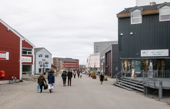 The pedestrian shopping mall in the center of downtown Nuuk (population 16,800), Greenland