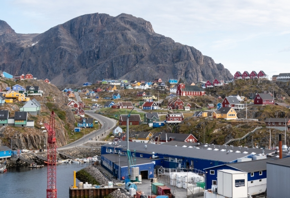 The port of Sisimiut, located just north of the Arctic Circle, was founded in 1756 as a mission and trading station and today is Greenland's second largest city with a population of about 5,500 people