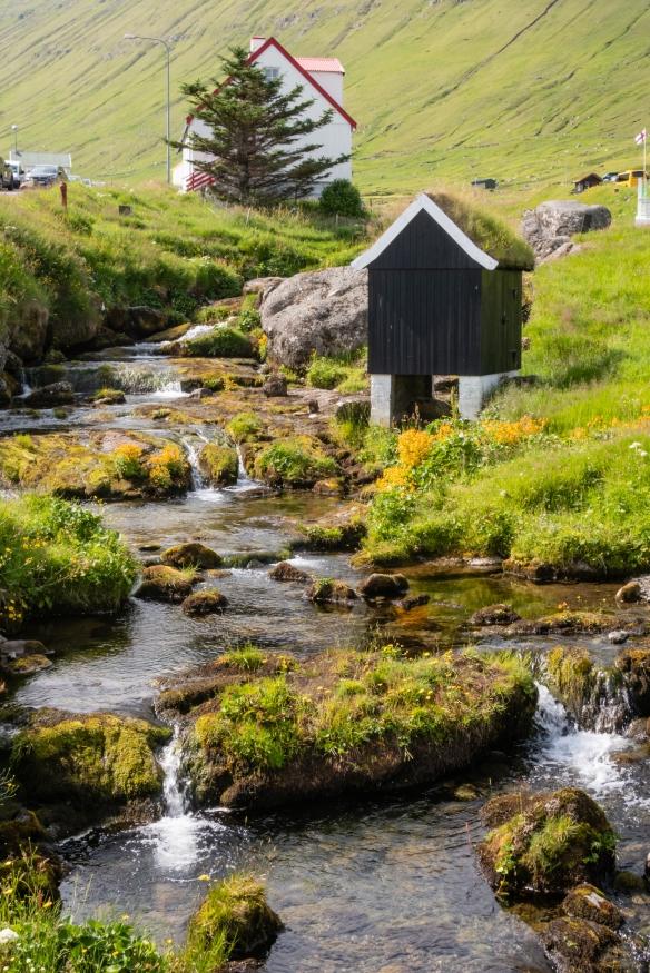 The scene upstream from the bridge in Gjógv, Eysturoy, Faroe Islands