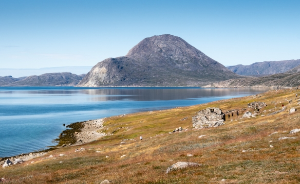 The site of the abandoned settlement of Thjodhildarstadir, just south of the town of Qaqortoq, Greenland, where there are remains of a 1,000 year-old Norse Viking settlement