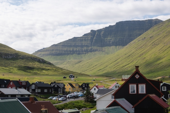 The small town of Gjógv, on the coast with a beautiful mountain backdrop, Eysturoy, Faroe Islands
