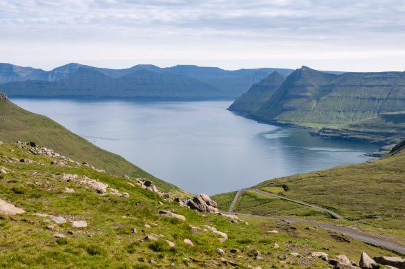 The view from the high road (near Slaettaratindur, the highest point in the Foares) of Funningsfjørdur (fjord), Eysturoy, Faroe Islands