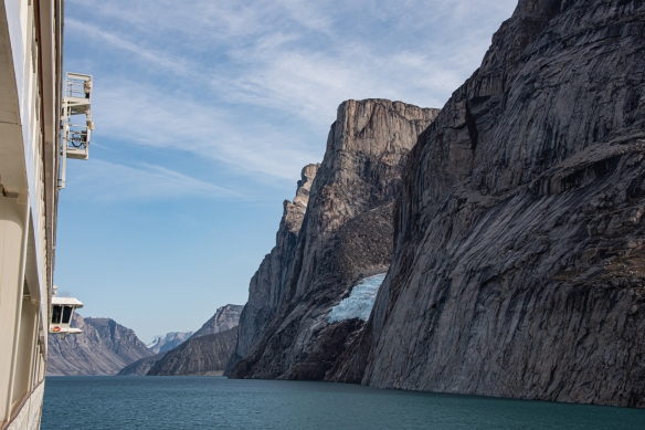 The view of Sam Ford Fjord (Kangiqtualuk Uqquqti) from our apartment's deck as we sailed out of the fjord, Baffin Island, Nunavut, Canada