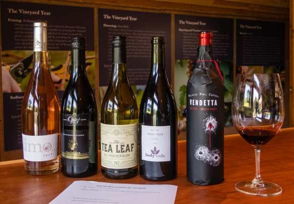 The wines from around the world that we tasted with winemaker Robert Francis at Holy Vale Vineyard winery, St. Mary's Island, Isles of Scilly, United Kingdom
