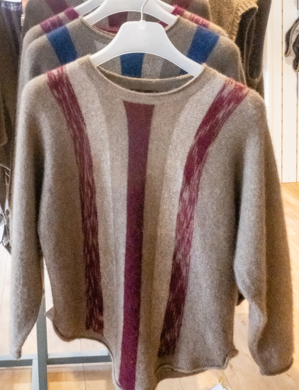 These beautiful colored musk ox wool sweaters stood out from most of the local plain grey, soft and extremely warm musk ox wool products available for sale in Nuuk, Greenland