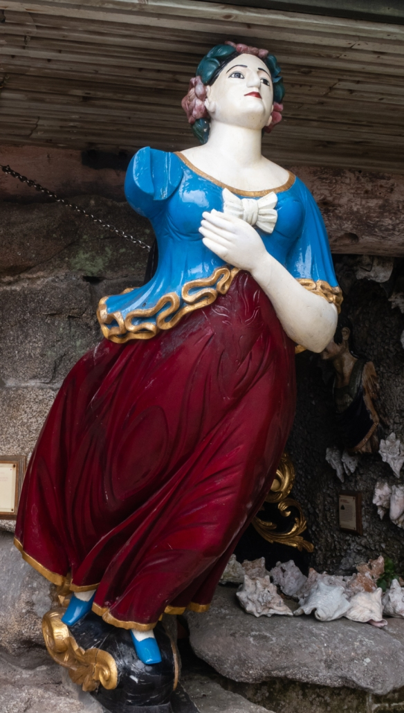 Tresco Abbey Garden, Tresco Island, Isles of Scilly, United Kingdom #9 – a ship's figurehead recovered from a nearby wreck, as presented in the Valhalla Museum at the Garden