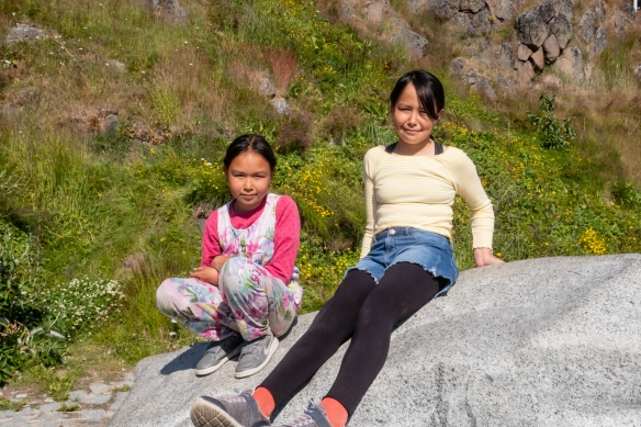Two young Inuit girls who followed us and talked with us on part of our walking tour through Qaqortoq, Greenland