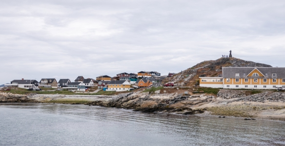 Typical brightly colored homes and apartments in Nuuk, Geenland