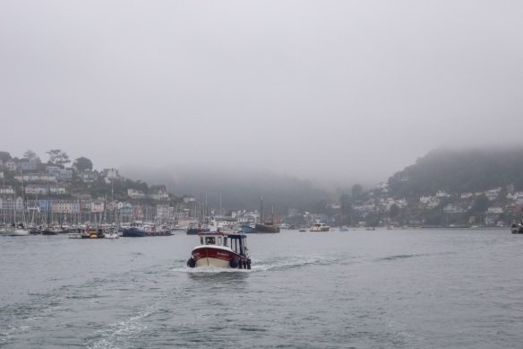 We departed Dartmouth, England on a River Dart ferry boat to Totnes early in the morning on a cool, very foggy day – hoping that the rain would hold off for the day