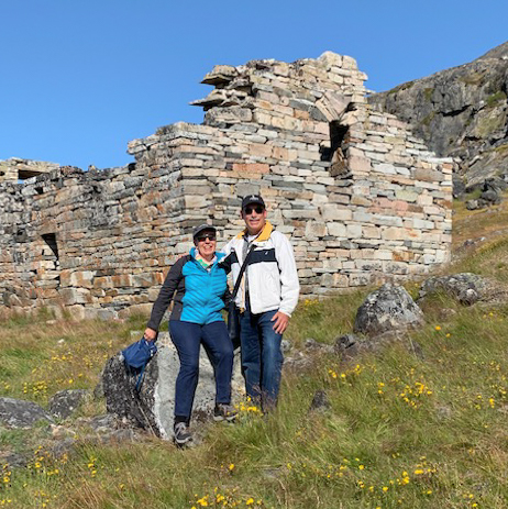 Your blogger with the intrepid explorer at the site of Hvalsey Church, Thjodhildarstadir, Greenland