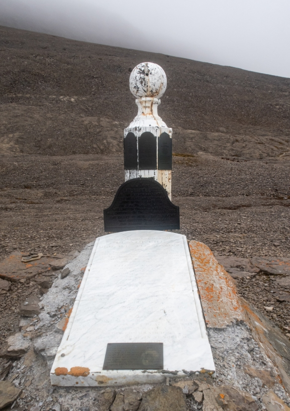A close up of the Franklin Camp memorial, Beechey Island (off the S.W. corner of Devon Island), Nunavut, Canada