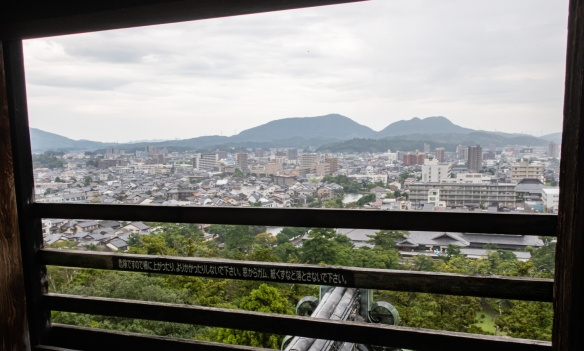 A view of Matsue City from the fifth floor watch tower (the highest floor) in Matsue Castle, part of a 360-degree view from the tower, Matsue City, Shimane Prefecture on Honshu Island, Japan