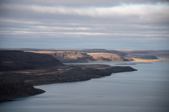 Aerial photo, Johansen Bay, Victoria Island, Nunavut, Canada, #2; note how flat the overall terrain (tundra) is beyond the small mounds along the river bank