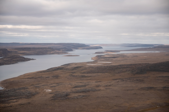 Aerial view of the Nakyoktok River that flows into Johansen Bay, Victoria Island, Nunavut, Canada
