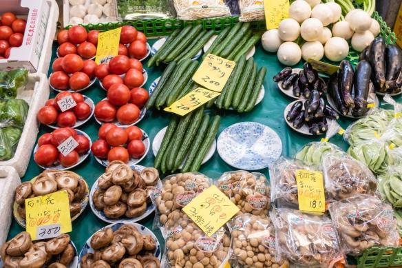 An array of beautiful (and colorful) fresh produce at a vendor's stall in Ōmi-chō Market, Kanazawa, Honshu Island, Japan