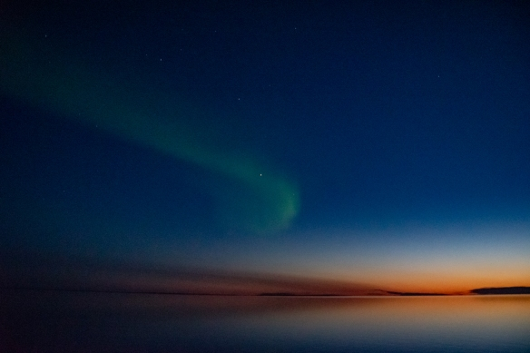 Aurora Borealis #1, photographed from the deck of our ship after sunset in Nunavut (in the Northwest Passage), approximately 70 degrees North Latitude, Canada