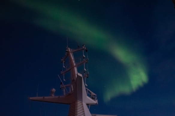 Aurora Borealis #10, photographed from the deck of our ship after sunset in the Northwest Territories, approximately 70 degrees North Latitude, Canada (in the Northwest Passage)